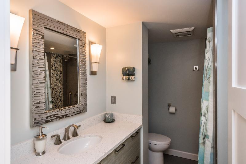 Clean, modern, high toilet, beautiful tile work in shower/tub.