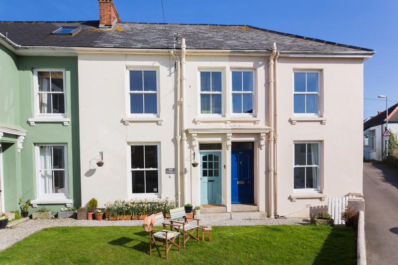 Shared front lawn and private rear gardens with views across the bay to Falmouth