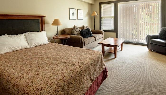 Il condominio studio open-concept dispone di un letto grande e comodo