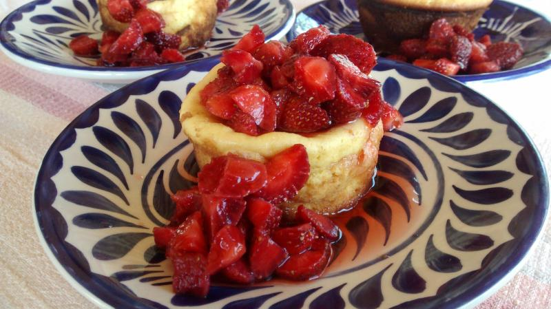Ricotta cheesecake made from the fresh recasón cheese made in the village.