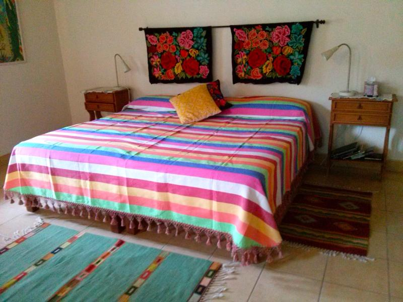 Hand loomed textiles in the guest rooms.