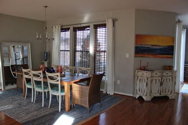Dining open to kitchen and great room, seating for 8+