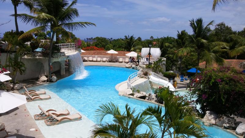 One of the gorgeous pools on the resort; this one has a waterfall