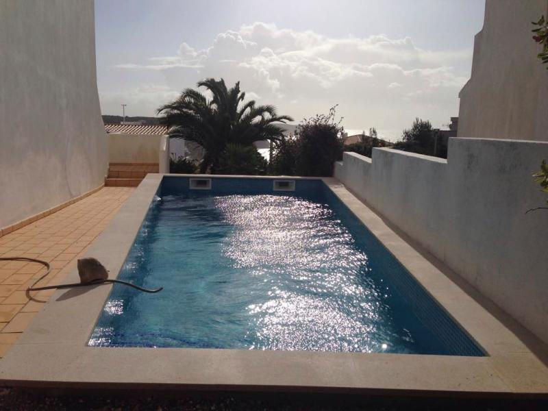 A brand new pool with saltwater cleaning and  automatic pool cover for your safety.