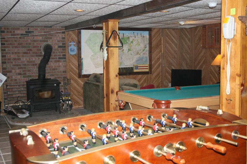 Pool table, foosball and wood burning stove