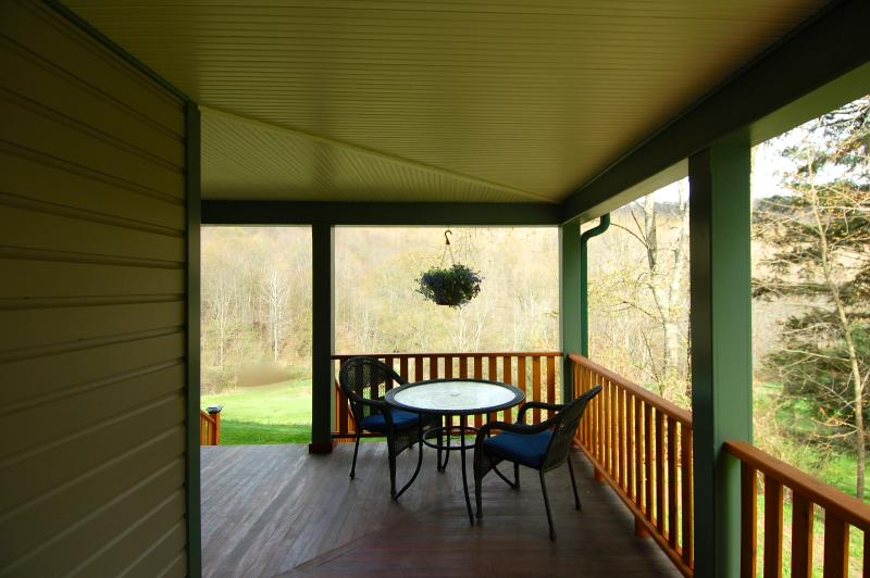 The End of the 650 square foot Wrap-Around Porch has a Staircase to the Back Yard