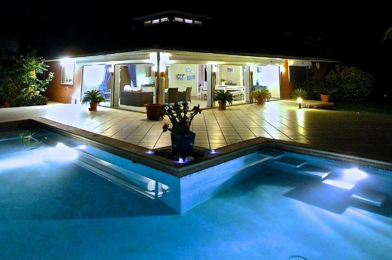 Dreaming over the pool at night