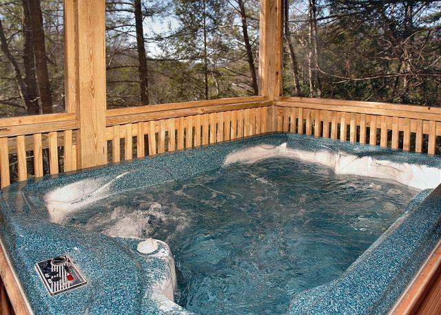 Hot Tub on Deck off of Living Area of Cabin