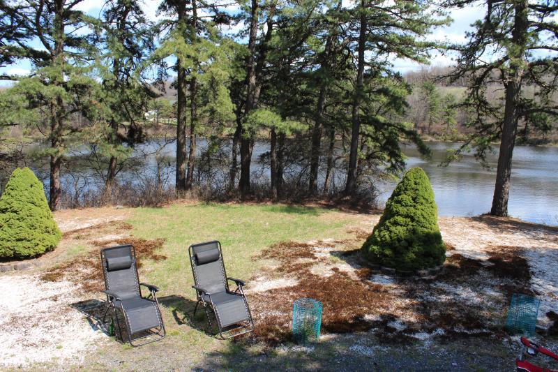 Backyard with a lake view
