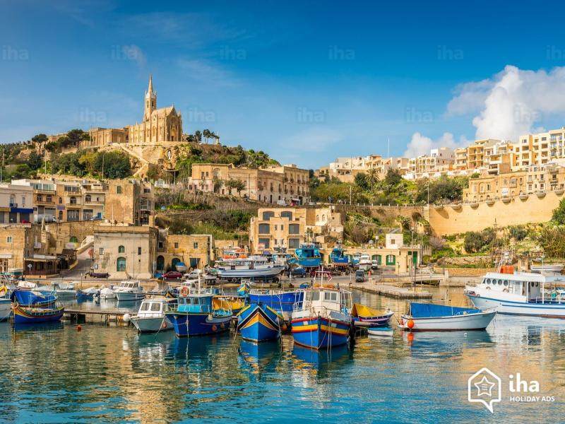 Your first sight of Gozo!  Beautiful Mgarr harbour with its colourful luzzu