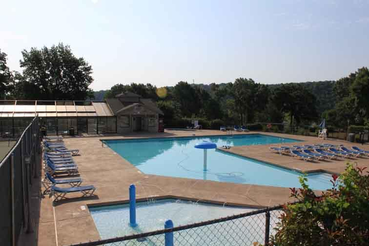 Large outdoor, indoor pool and kiddie pool at Clubhouse.