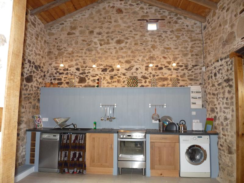 Vaulted ceiling and exposed walls in the kitchen