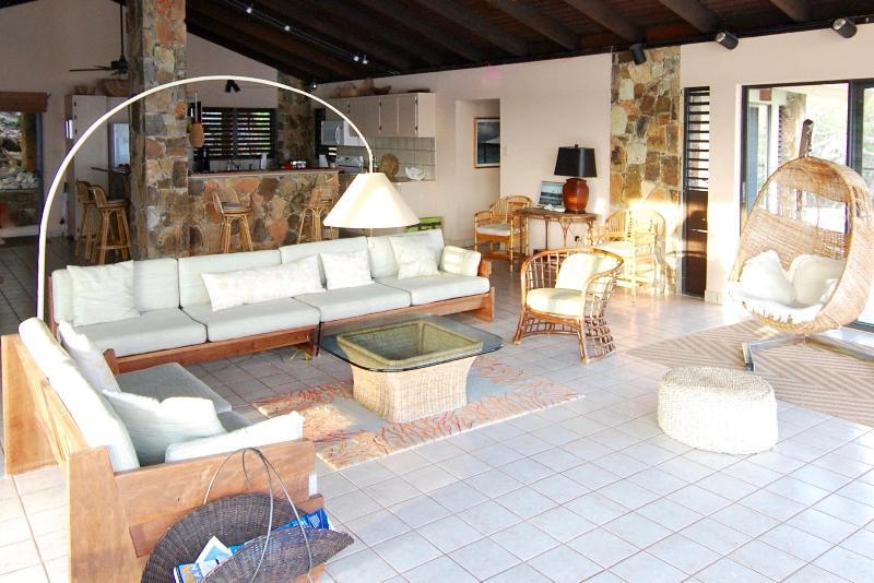 Generous open plan room (900 sq. feet) with Mid-Century custom furniture