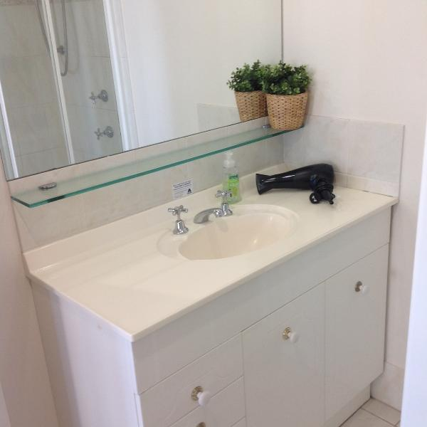 Ensuite with hairdryer.