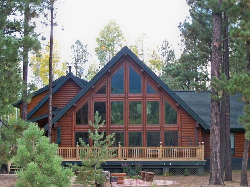 Beautiful log home in the forest.