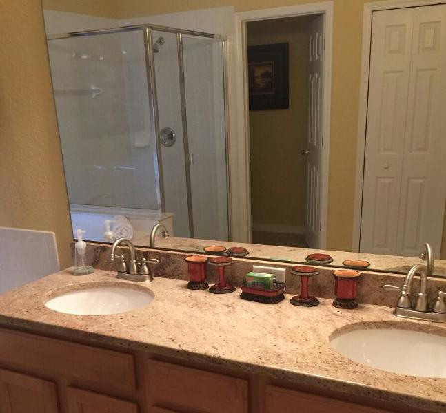 Master Bathroom with New Granite
