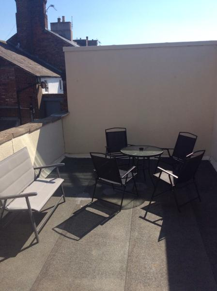 Outside enclosed roof terrace