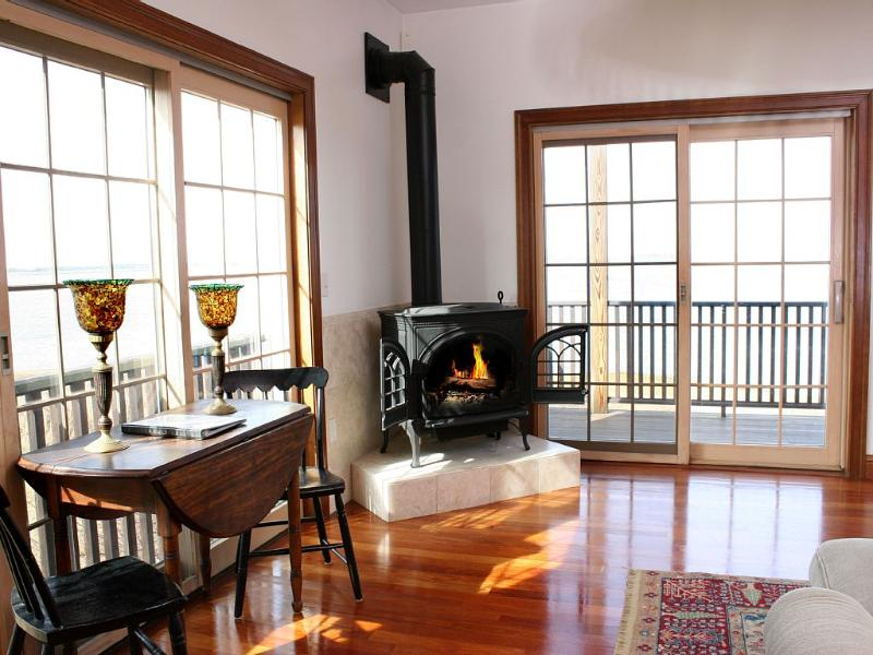 Gas fireplace stove in the Great Room.
