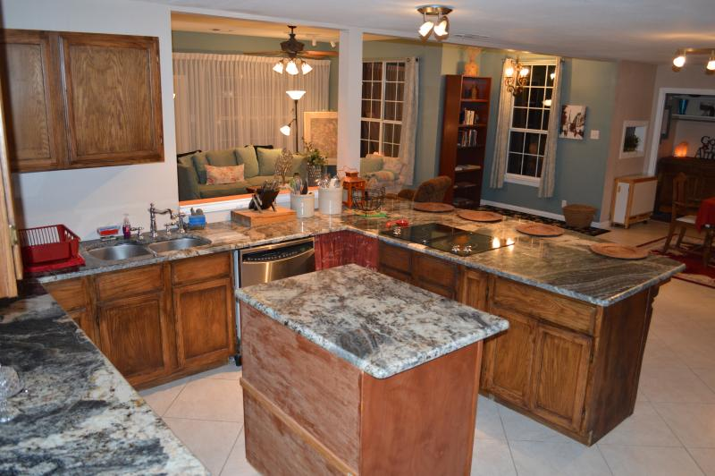 Huge kitchen with open floor plan into livingroom and dining room,