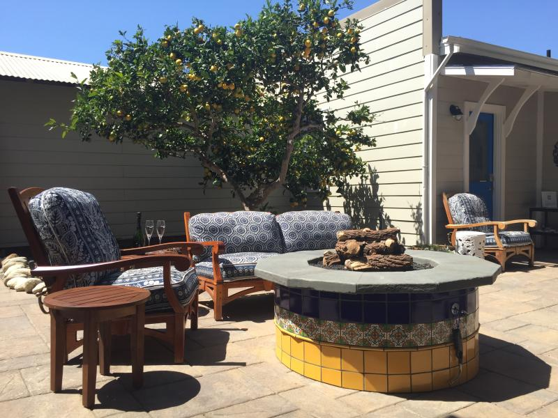 Private patio with gas fire pit, outdoor shower, Weber grill and spa tub