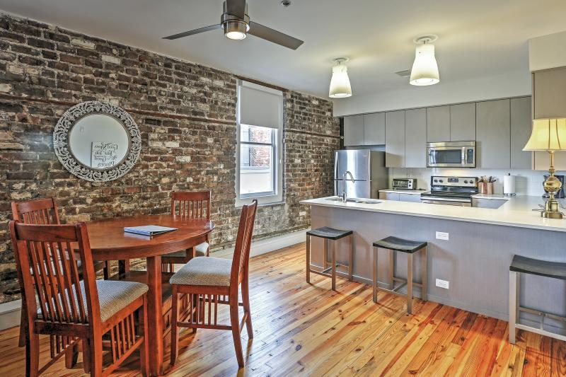 You'll love the exposed brick decor.
