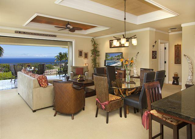Living and dining room with ocean views