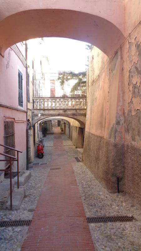 One of the narrow streets in Ventimiglia Alta.
