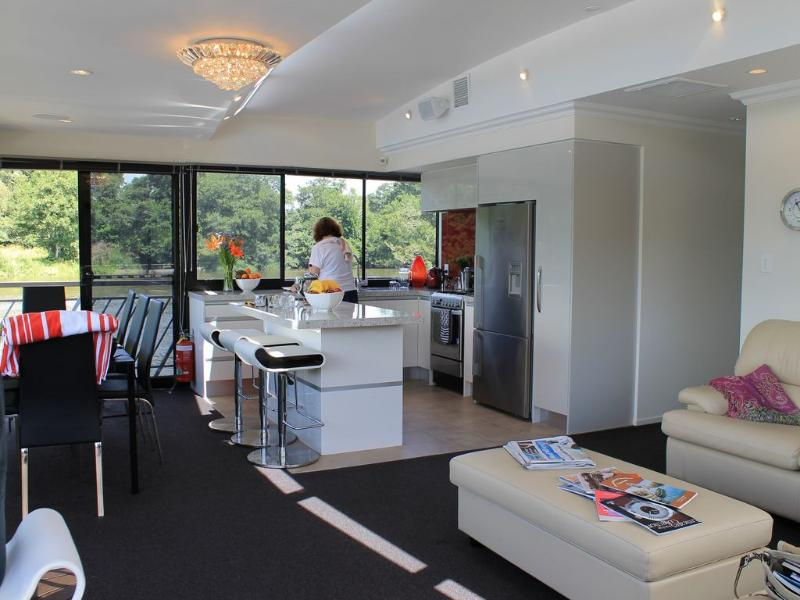 A view of the very large forward living area in our vessel