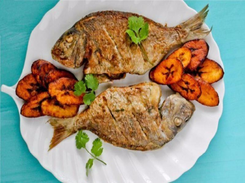 Meal of roasted fish