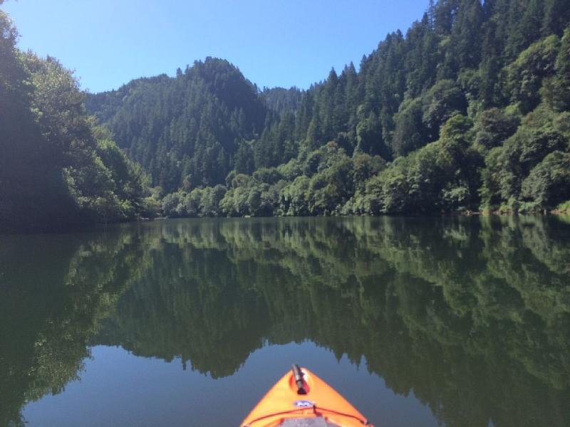 Kayaking on the Lower Umpqua in front of the cabin