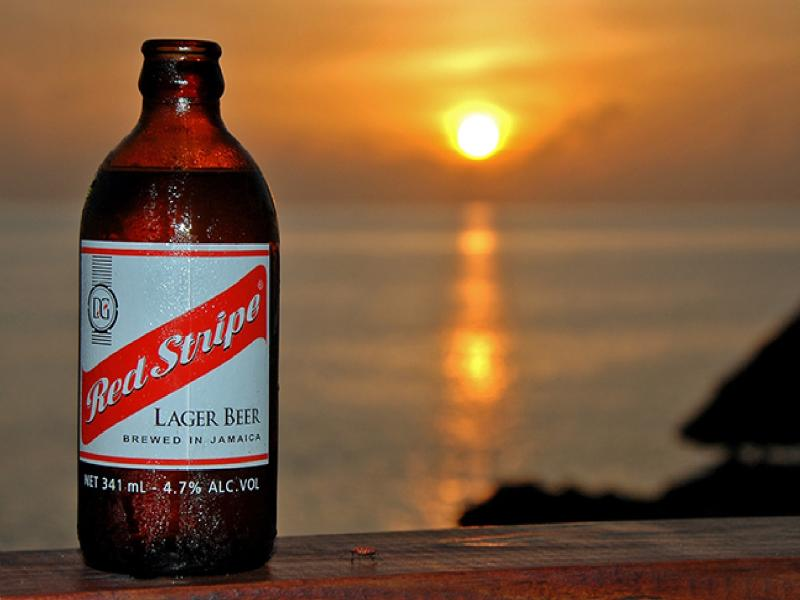 Cold and satisfying Red Stripe beer.