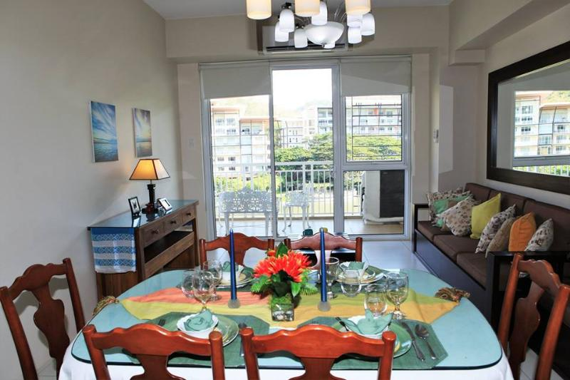 See the beautiful view of the lagoon from the dining room to the balcony and everything in between.