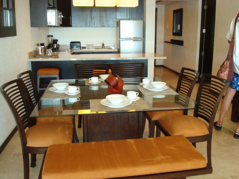 Beautiful dining room and kitchen in main unit.  Another kitchenette in lockout with 2 queen beds.
