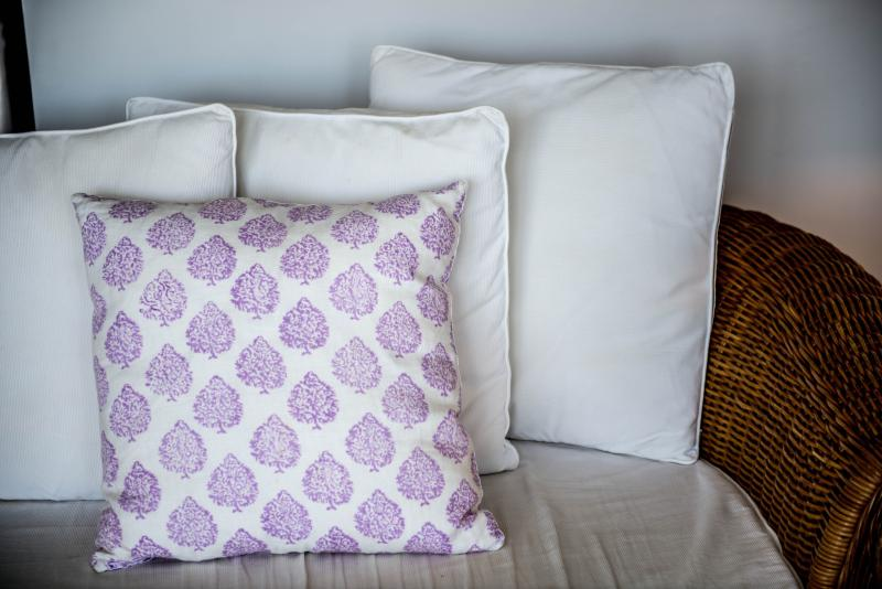 Pretty linens throughout the apartment. (Living Room)