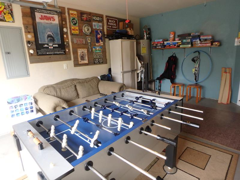 Rec room with foosball and games