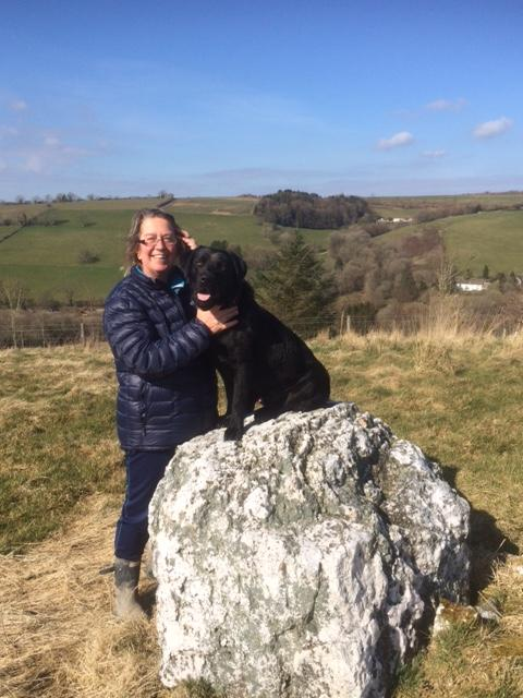 Owner (Carol Rous) with Sirius Black at the highest point of the farm. Easy walk from the cottage.