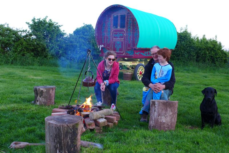 Family fun staying in Ruby the Gypsy Caravan