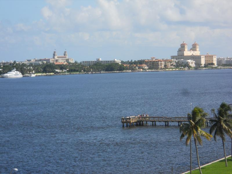 View of the Intercoastal Waterway, Palm Beach, yachts, Breakers Hotel and Biltmore.