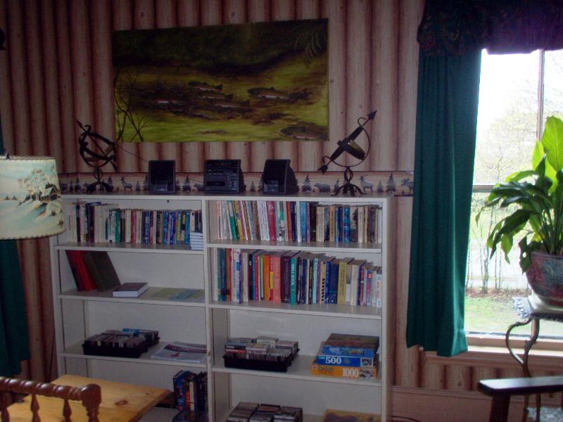 Living room with stereo vintage cassettes. and books