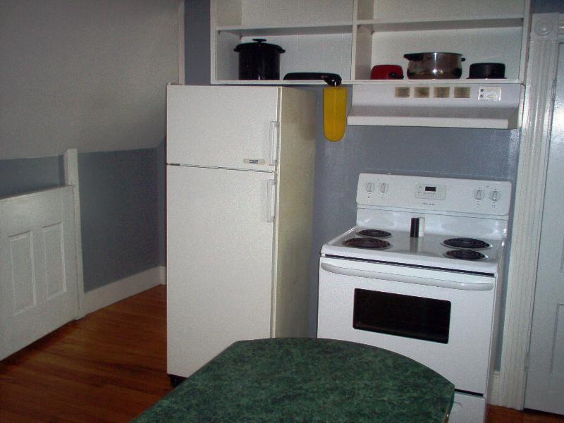 Kitchen fridge, stove/oven