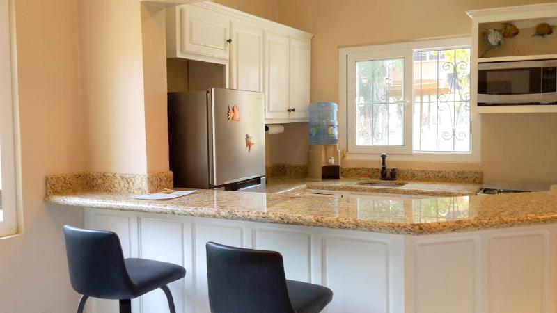 cocina totalmente equipada, encimeras de granito, electrodomésticos de acero inoxidable, estufa de gas