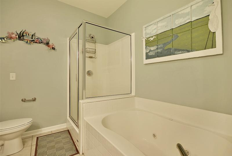 Master bath with tub and shower.