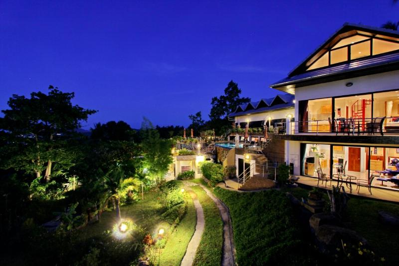 Night house and pool