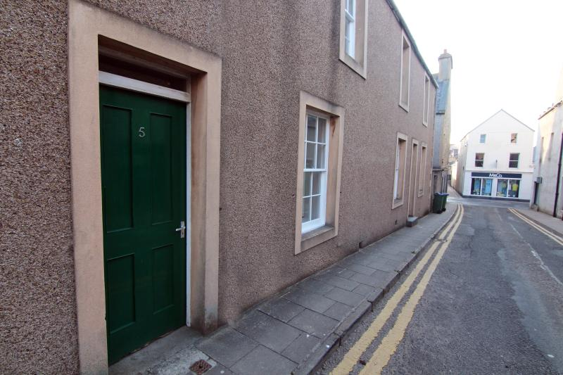 Front of Building - shows proximity to min street in Kirkwall.