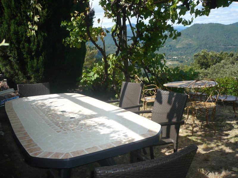 Terrasse ombragée avec vue sur les Cévennes
