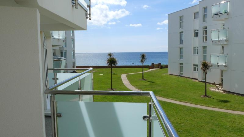 Sea views from balcony, set back offering privacy