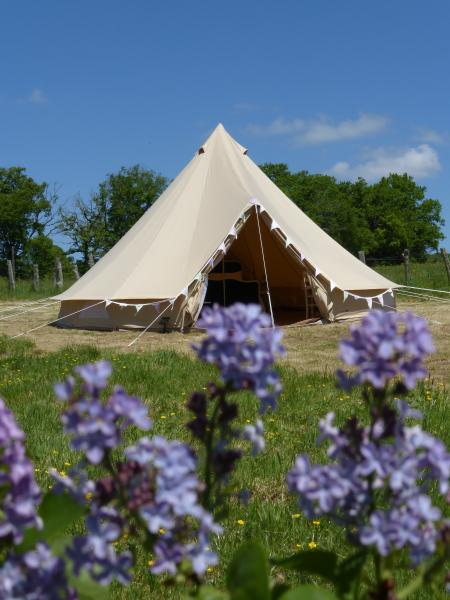 We have one 6m bell tent in a pretty meadow with private bathroom and kitchen in a nearby cabin.