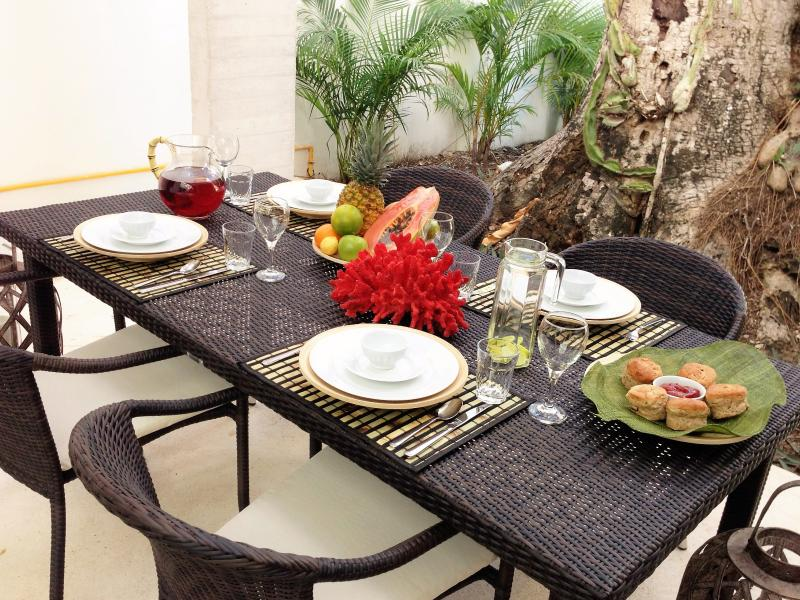 Outdoor shaded dining on patio