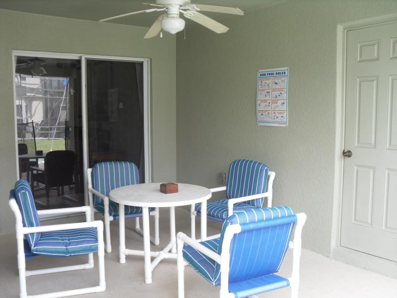 Outdoor Patio Area with table and chairs