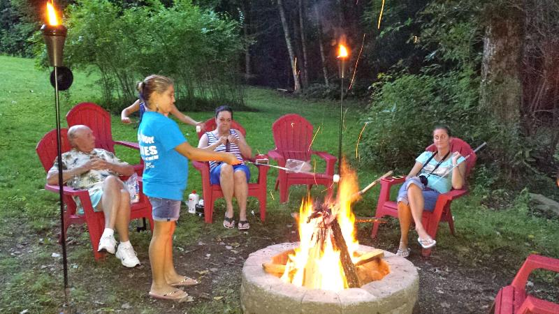 Fire pit at stream's edge - gather and enjoy!